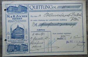 Alte Quittung Vom 561926 M R Zocher Dresden Möbel Und