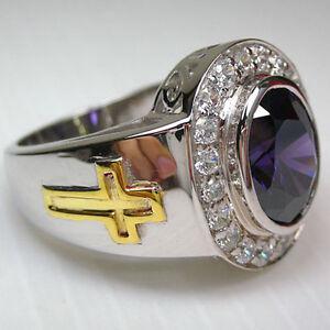 amethyst crucifix christian 925 sterling silver bishop