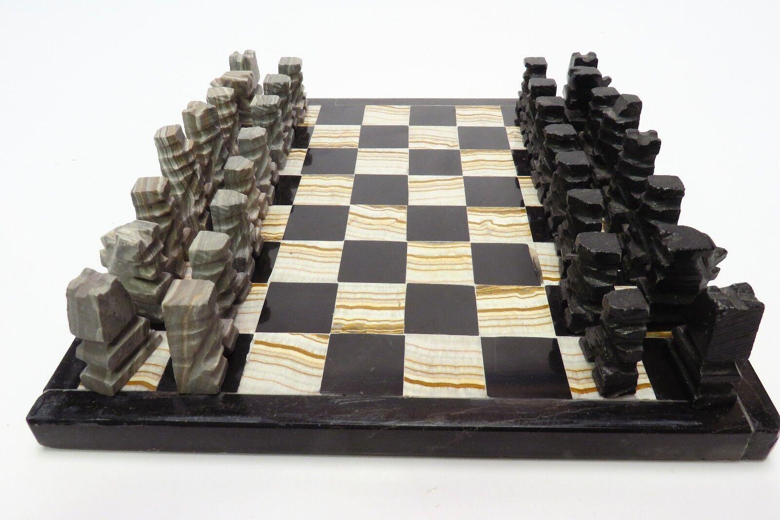 "SMALL Onyx Onyx Onyx Marble Stone Chess Set Aztec Artisan Hand Carved Board 7""x7"" BA4A68 b0d792"
