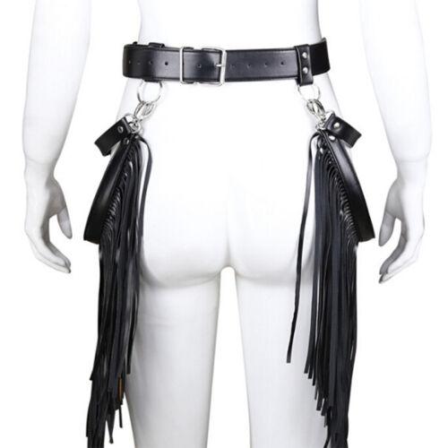 Women PU Leather Waistband Waist Belt Skirt Harness Tassel Adjustable Fringe TK