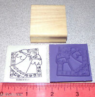 Stampin Up Very Merry Stamp Single Angel With Wings In A Border Frame