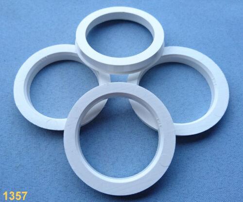 4x Bagues de centrage 72,5 mm 57,1 mm pour jantes alu blanc 1357