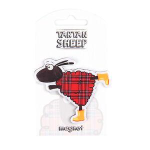 Scottish Iconic Red Tartan Dancing Cartoon Sheep PU Home Kitchen Magnet