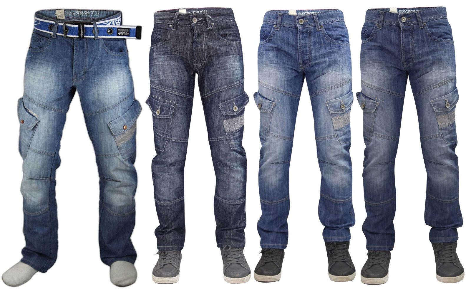 Crosshatch Uomo Sabbiati Jeans Bottoni Fly Regular Cargo Tasche Jeans