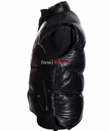 Black Military Puffer Everest Men's Lambskin fill Real Down Waistcoat Leather qEAx8wv