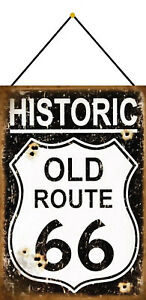 Historic-Old-Route-66-Tin-Sign-Shield-with-Cord-7-7-8x11-13-16in-FA0229-K