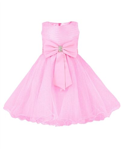 GIRLS FLOWER WEDDING TULLE PARTY BOW DETAIL DRESS PAGEANT BRIDESMAID 2-12 Y