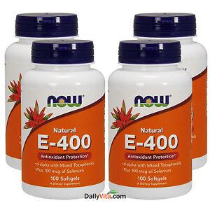 4 X Now 100 Natural Vitamin E 400 Iu Mixed Tocopherols Selenium 100