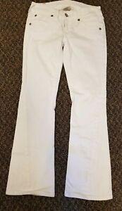 True-Religion-Womens-Joey-White-Low-Rise-Flare-Jeans-sz-28-Flap-pockets-Stretch