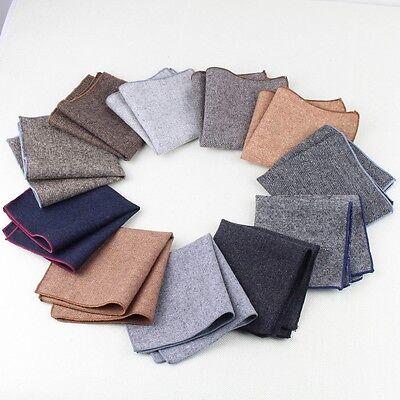 Factory Men/'s Wool Handkerchief Vintage Solid Party Wedding Woolen Pocket Square