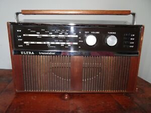 Vintage Wooden Cased Ultra Transistor Radio Portable with LW/MW/LUX/VHF -Battery