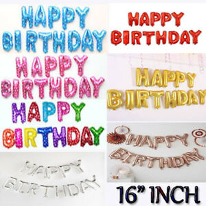 Self-Inflating-16-034-INCH-Foil-Number-amp-Letters-BALLOONS-Happy-Birthday-Ballons
