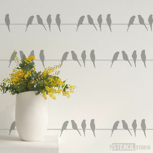 Details About Budgies Bird Border Wall Furniture Stencil Painting Art Craft Diy Home Decor
