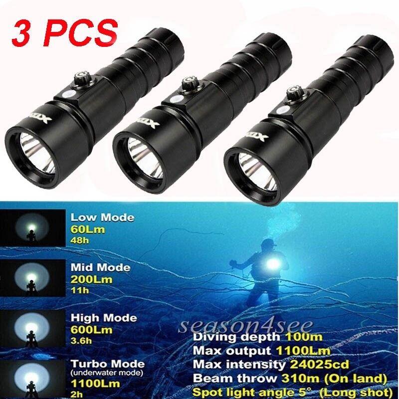 3pcs XTAR D26 Diving Flashlight XM-L2 U3 LED 1100 Lumens Dive Torch 18650