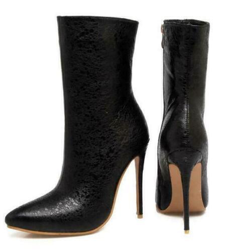 Womens Party Ankle Boots Stiletto Heel Platform Shiny Shoes Pumps Plus Size4-13