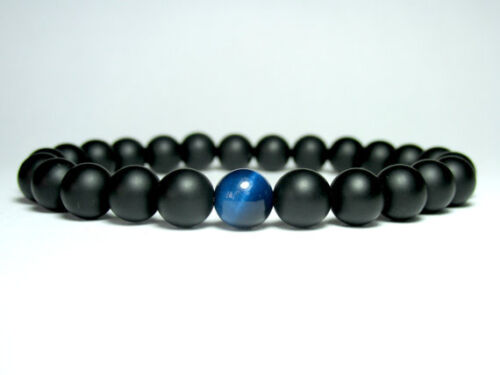 Mens Matte Black Onyx Blue Tiger Eye Gemstone Beaded Stretch Jewelry Bracelet