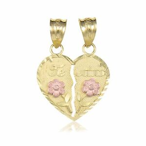 14k solid yellow rose gold te amo half heart pendant love flower image is loading 14k solid yellow rose gold te amo half aloadofball Choice Image