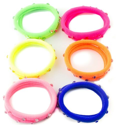 Thick Hair Elastics Hair Ponios Ponytail Bobble with Crystal Stones Bright Color