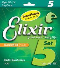ELIXIR 14202 NANOWEB COATED BASS STRINGS, LIGHT GAUGE 5 STRINGS SET - 45-130