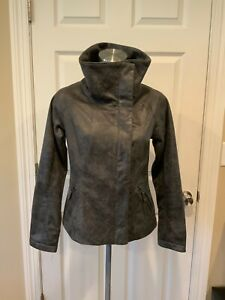 Lost April Anthropologie Gray Cracked Vegan Suede Zip-Up Jacket, Size Large