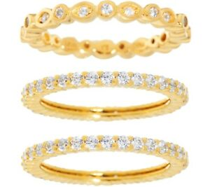 DIAMONIQUE-14K-YELLOW-CLAD-STERLING-SET-OF-THREE-ETERNITY-BAND-RINGS-SIZE-6-QVC