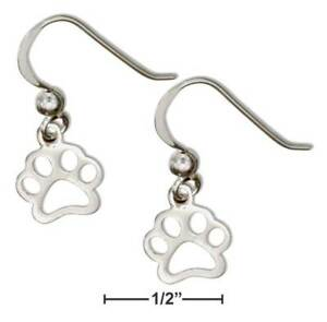 Details About Genuine 925 Sterling Silver Outline Paw Print Earrings