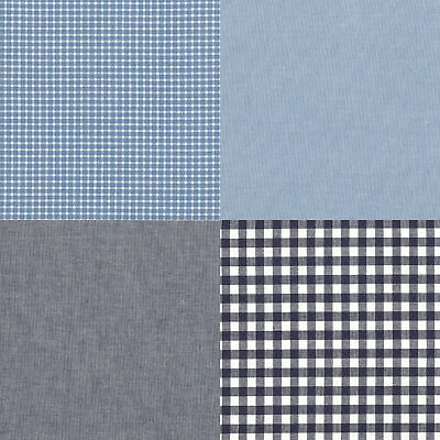 LINEN 100/% CHAMBRAY YARN DYED FABRIC BEDDING CLOTHES SOLID CHECK STRIPE BLUE 44/'