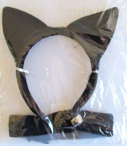 Black Velvet Cat Ears /& Chocker with bell