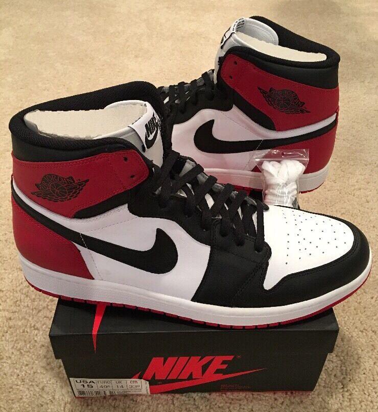 Nike Air Jordan Retro 1 High OG Black Toe Size 15 Red Black White Bred Chicago