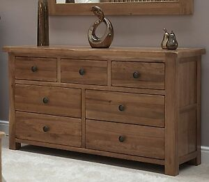 Image Is Loading Denver Large Wide Chest Of Drawers Solid Rustic