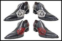 Fiesso Pointed Tip Embroidered Stitching Leather Shoes B&w,red&black Fi 6740