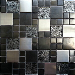 Image Is Loading Metallic Random Mix Glass Mosaic Wall Tiles Kitchen