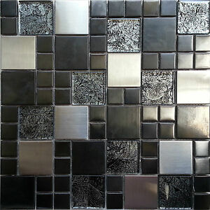 Charmant Image Is Loading Metallic Random Mix Glass Mosaic Wall Tiles Kitchen