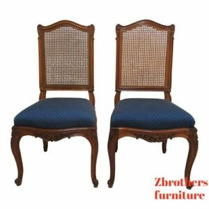 2-Antique-French-Victorian-Rosewood-Carved-Dining-Room-Desk-Side-Chairs-C