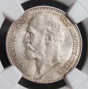 """1900, Liechtenstein, Prince Johann II """"the Good"""". Silver 1 Krone Coin. NGC MS65!"""