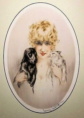 Women friends black white dogs 5 x 7 signed art deco Louis Icart  print