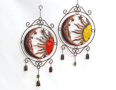 Metall Sonne Mond Aufhänger Zur Wahl In Edelrost Optik Glocke Deko Windspiel Eine GroßE Auswahl An Modellen