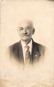 Happy-Old-Man-with-Glasses-and-a-Mustache-Portrait-Antique-RPPC-Real-Photo-B11