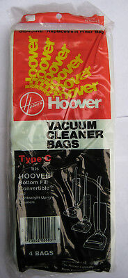 4 Pack Genuine Hoover Type C Upright Vacuum Cleaner Bags 40100003C Bottom Fill