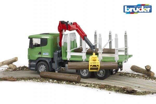 Bruder 03524 SCANIA R Serie Holztransport LKW mit Ladekran Greifer und 3 Baumstä