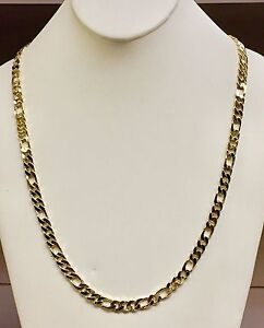 10k-Solid-Gold-Handmade-Figaro-Curb-link-mens-chain-necklace-30-034-72-Grams-6-5-MM