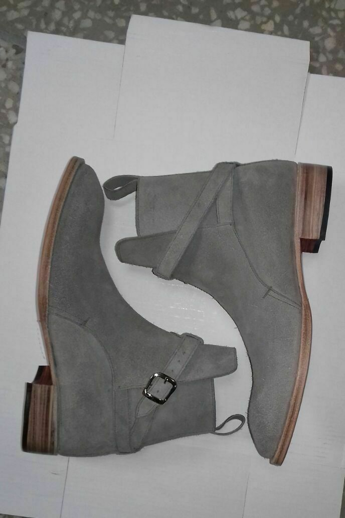 Mens Handmade Boots Jodhpur Ankle Grey Ankle High Suede Leather Formal Wear shoes
