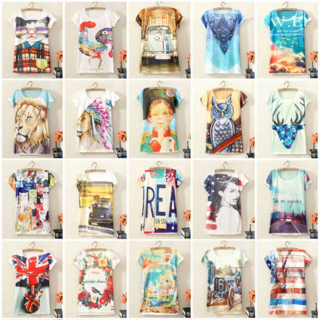 Women Girls Vintage Graphic Printed Short Sleeve T Shirt Tee Casual Blouse Tops