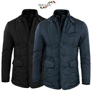 Giubbotto-Uomo-Invernale-Slim-Fit-Giacca-Elegante-Blu-Nero-Giubbino-Sartoriale-L