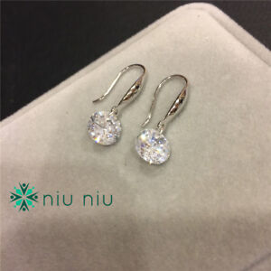 Details About 18k White Gold Platinum Over Sterling Silver Cubic Zirconia Earrings Eardrop