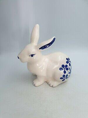 Large Ceramic Blue White Sitting Bunny Rabbit Figurine Ornament Floral Crackled Ebay