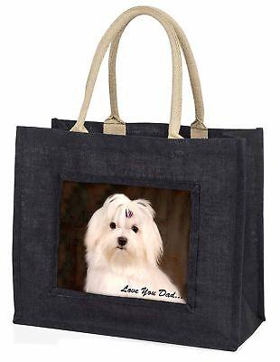 Malteser Hund' liebe Dich Papa' große schwarze Einkaufstasche Weihnachtsgeschenk
