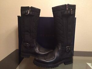 $1400 NIB RALPH LAUREN Carlson Black Quilted Waxy Calf foil cloth Leather Boots