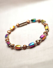 LADIES 7.25 INCH MAGNETIC THERAPY BRACELET: Rainbow Hematite & Copper Hearts