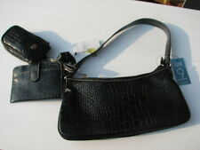 NINE WEST BLACK CROC EMBOSSED LEATHER  4 PCS PURSE BAG  NWT